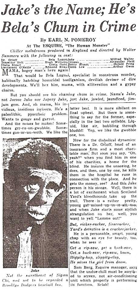The Human Monster American Newspaper, 1940