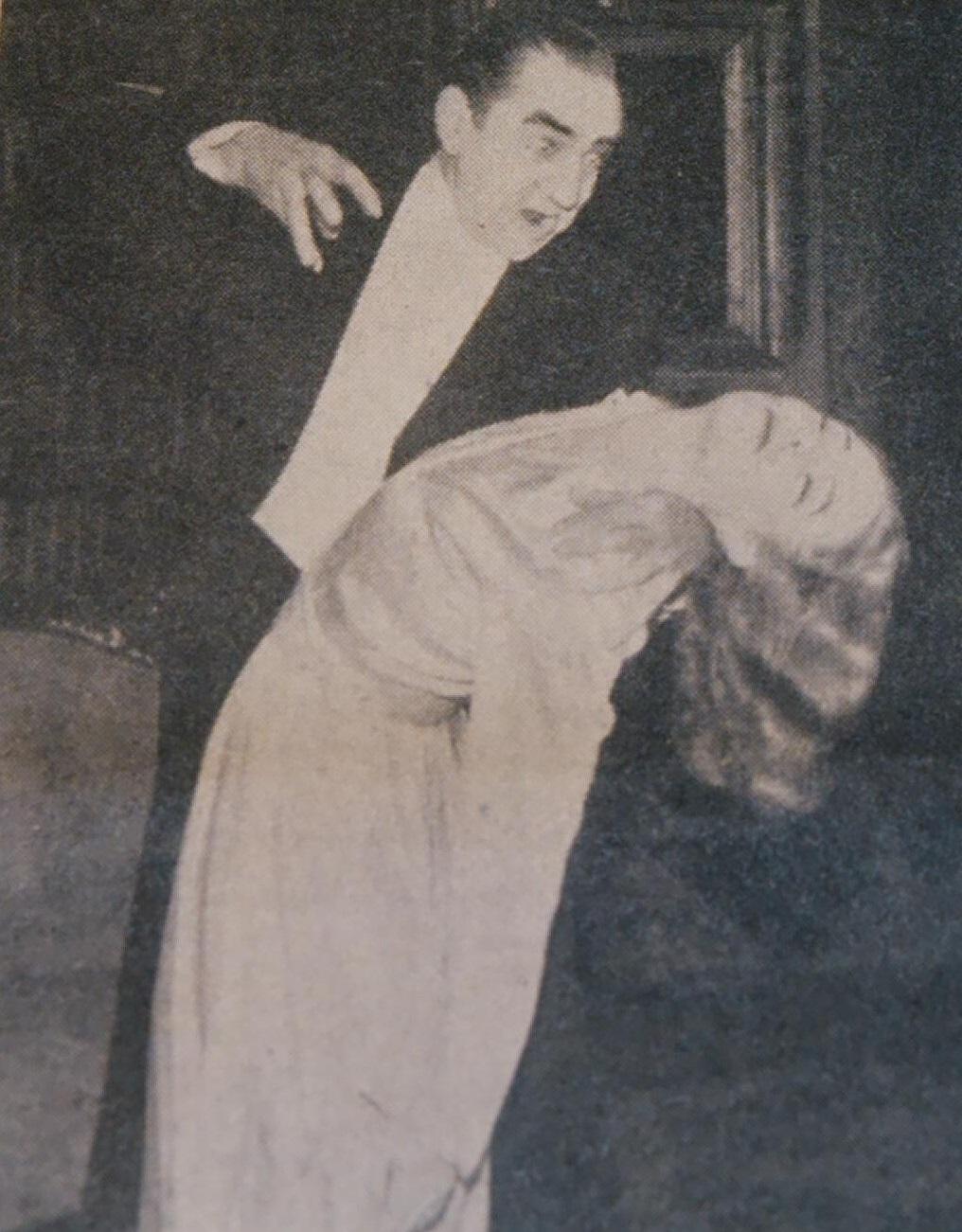 Bela and leading lady Sheila Wynn at the Lewisham Hippodrome