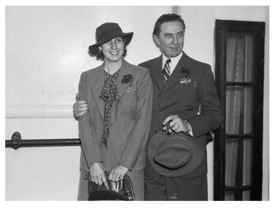 Bela Lugosi With His Wife On Board Ship