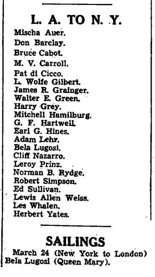 Dark Eyes Of London Variety, March 22, 1939