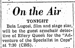 Ellery Queen, Canton Repository, March 19, 1947