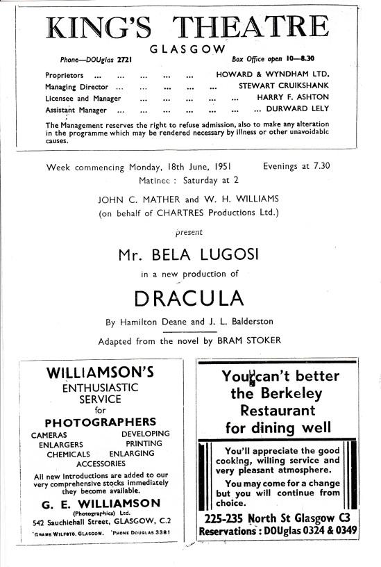 King's Theatre, Glasgow Programme