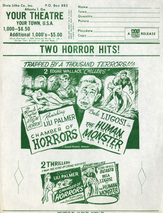 The Human Monster 1950s Re-Release Cinema Advertising
