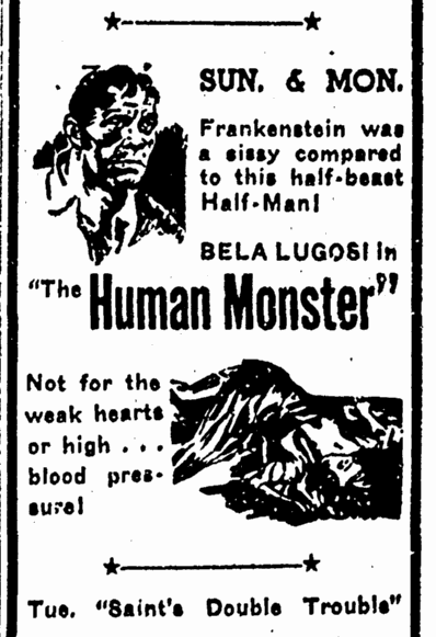 Human Monster,  Advocate, June 1, 1940