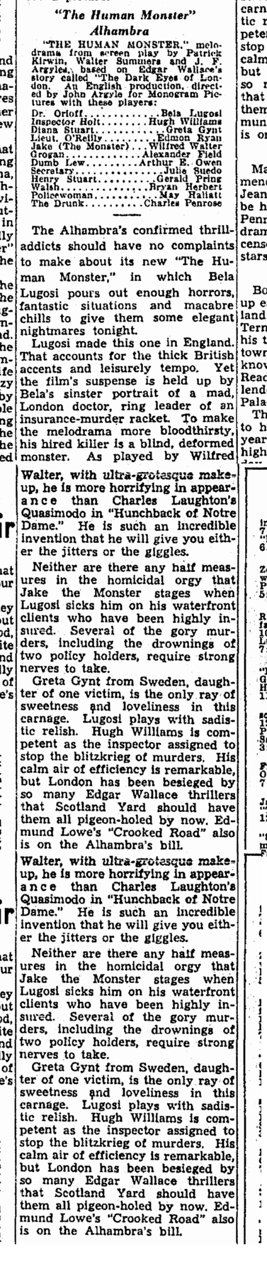 Human Monster, Cleveland Plain Dealer, June 14, 1940