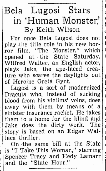 Human Monster, Omaha World Herald, April 21, 1940