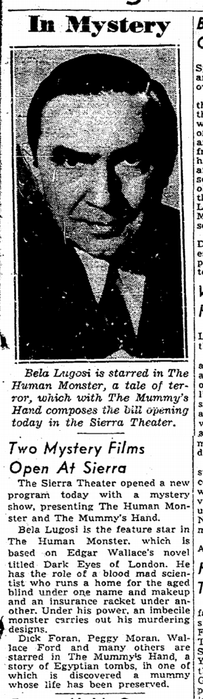 Human Monster, Sacremento Bee, September 11, 1940 2