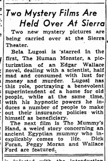 Human Monster, Sacremento Bee, September 14, 1940