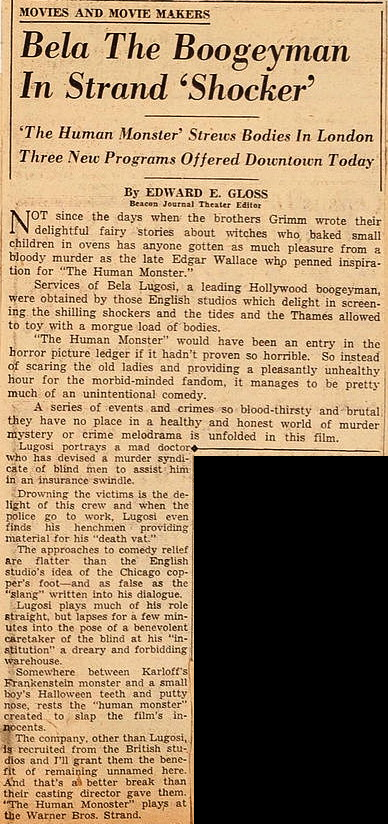 Human Monster, The Beacon Journal, May 2nd, 1940