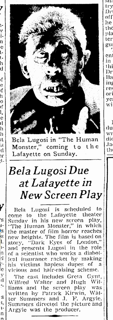 Human Monster, The Times-Picayune, March 15, 1940