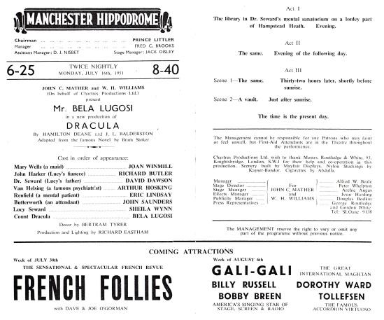 Manchester Hippodrome Programme