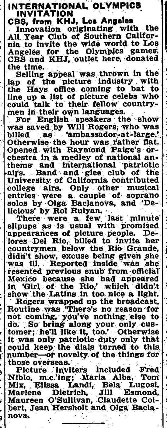 Radio, Variety, May 31, 1932