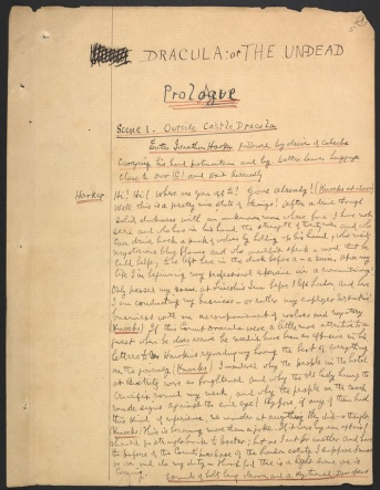 Stoker's handwritten manuscript for the staged reading of Dracula