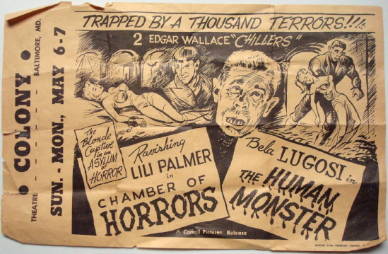 The Human Monster - Colony Cinema Baltimore 1950s Re-Release