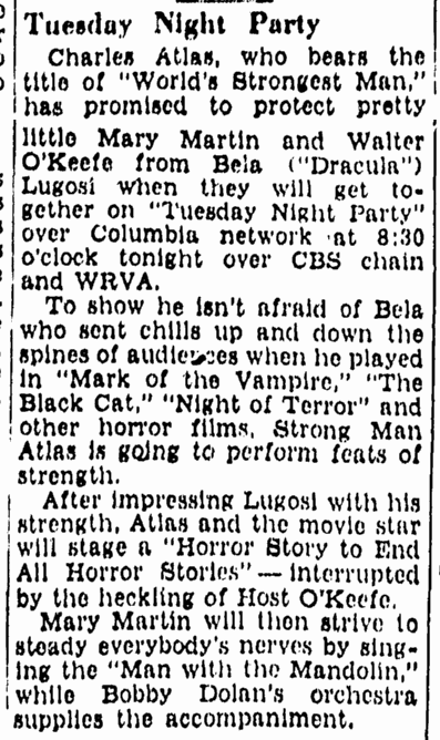 Tuesday Night Party, Richmond Times Dispatch, October 17, 1939