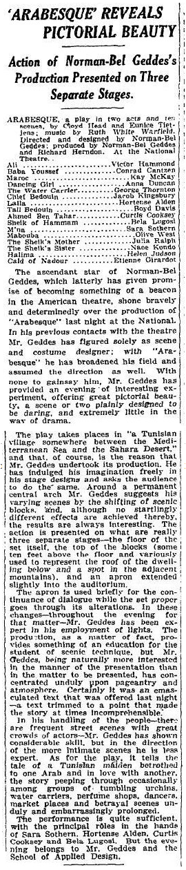 Arabesque, The New York Times, October 21, 1925