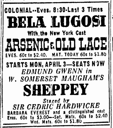 Arsenic and Old Lace, Boston Herald, April 1, 1944
