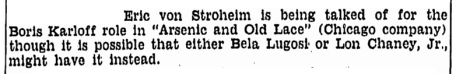 Arsenic and Old Lace, Boston Herald, February 10, 1941
