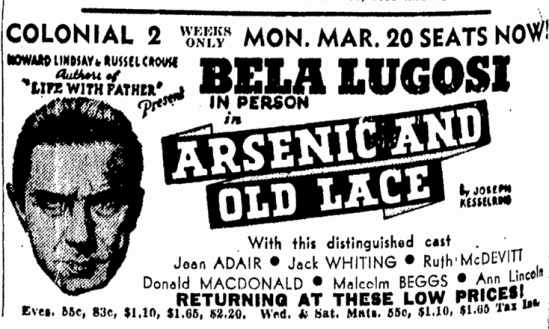 Arsenic and Old Lace, Boston Herald, March 12, 1944