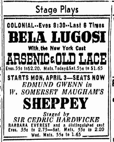 Arsenic and Old Lace, Boston Herald, March 29, 1944