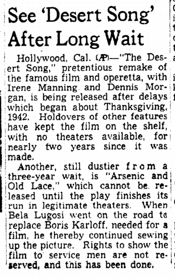 Arsenic and Old Lace, Omaha World Herald, February 6, 1944