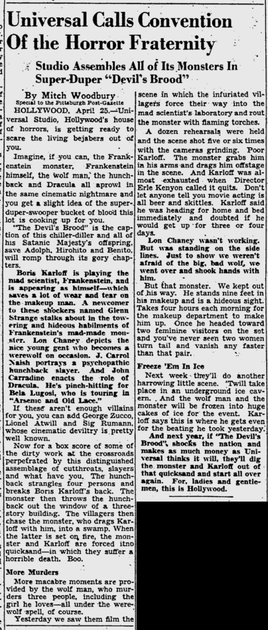 Arsenic and Old Lace, Pitsburgh Post-Gazette, April 26, 1944