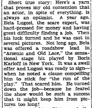 Arsenic and Old Lace, Rockford Register-Republic, September 3, 1941