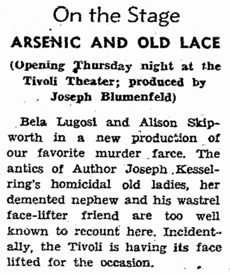 Arsenic and Old Lace, San Francisco Chronicle, August 1 1943