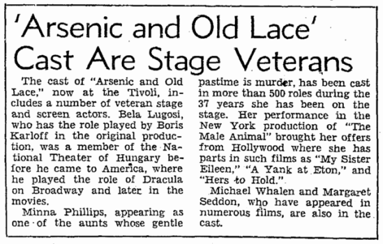 Arsenic and Old Lace, San Francisco Chronicle, August 10. 1943