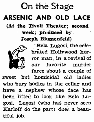 Arsenic and Old Lace, San Francisco Chronicle, August 15, 1943