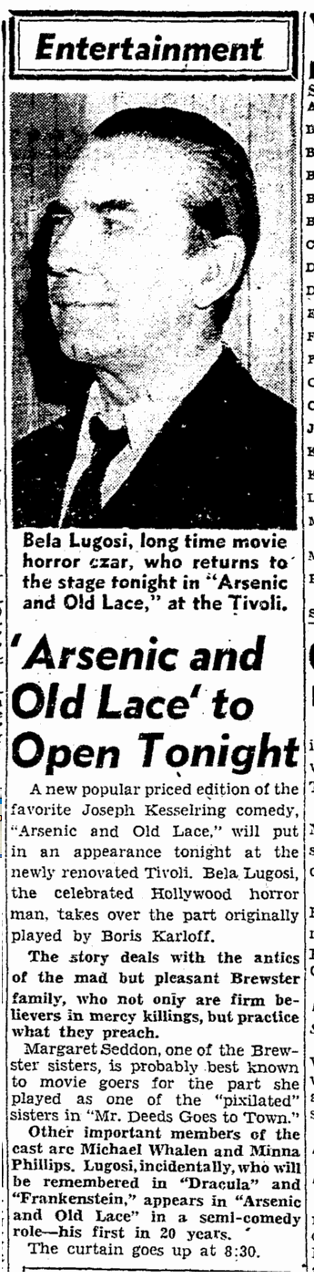 Arsenic and Old Lace, San Francisco Chronicle, August 5, 1943