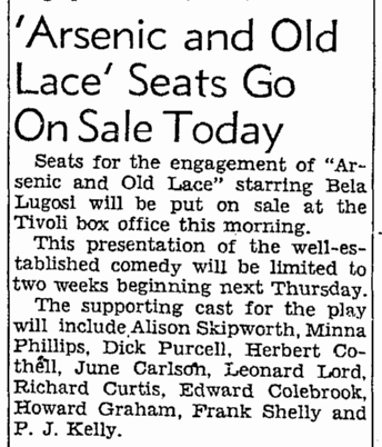 Arsenic and Old Lace, San Francisco Chronicle, July 29, 1943