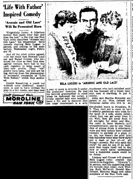 Arsenic and Old Lace, The Auguata Chronicle, February 6, 1944