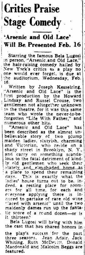 Arsenic and Old Lace, The Augusta Chronicle, January 30, 1944