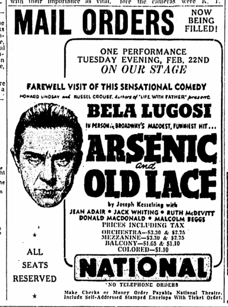 Arsenic and Old Lace, The Greensboro Daily News, February 10, 1944