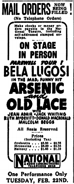 Arsenic and Old Lace, The Greensboro Daily News, February 11, 1944
