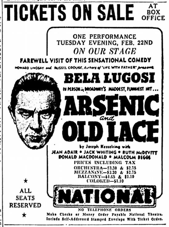Arsenic and Old Lace, The Greensboro Daily News, February 20, 1944