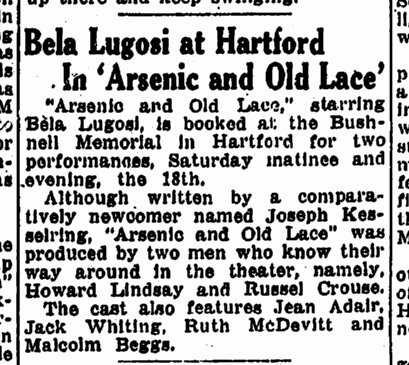 Arsenic and Old Lace, The Springfield Sunday Union And Republican, March 12, 1944