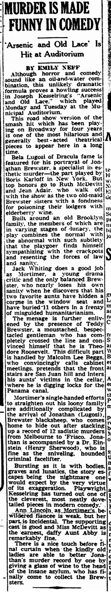 Arsenic and Old Lace, The Times-Picayune, February 9, 1944