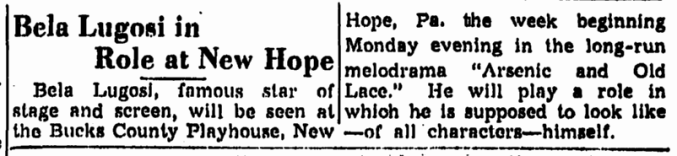 Arsenic and Old Lace, Trenton Evening Times, June 27, 1947