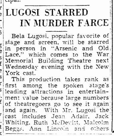Arsenic and Old Lace, Trenton Evening Times, March 5, 1944