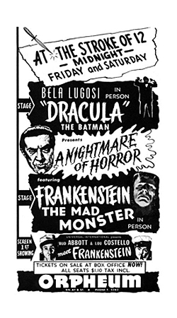 Abbott and Costello Meet Frankenstein promotional tour.  A Nightmare of Horror