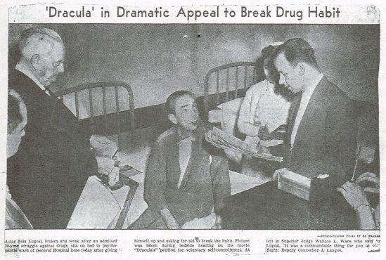 Bela in Hospital Los Angeles Newspaper, April 22, 1955