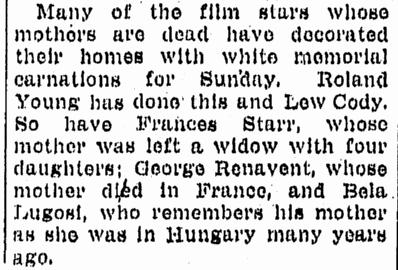 Bela Lugosi, Advocate, May 10, 1931