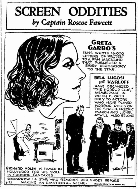 Bela Lugosi, Bellingham Herald, June 21, 1933