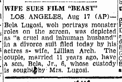 Bela Lugosi, Boston Herald, August 18, 1944