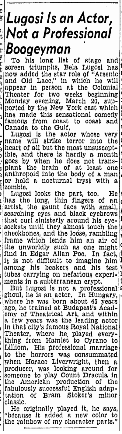 Bela Lugosi, Boston Herald, March 12,1944