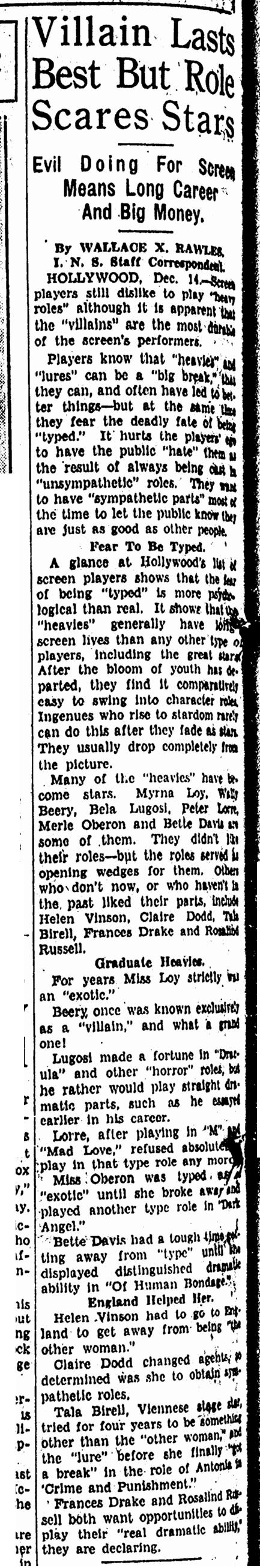 Bela Lugosi, Canton Repository, December 15, 1935