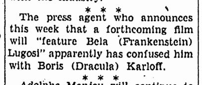 Bela Lugosi, Canton Repository, December 29, 1932