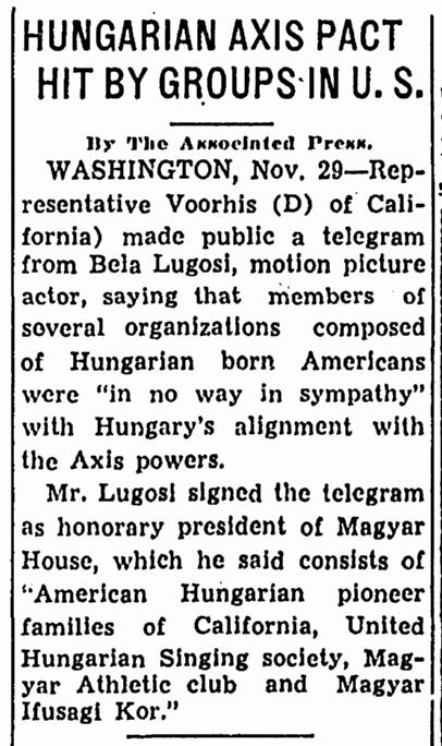 Bela Lugosi, Canton Repository, November 29, 1940